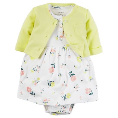carter's® Newborn 2-Piece Babysoft Floral Print Bodysuit Dress and Cardigan Set in Yellow/Pink