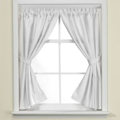 Westerly White Bathroom Window Curtain Pair