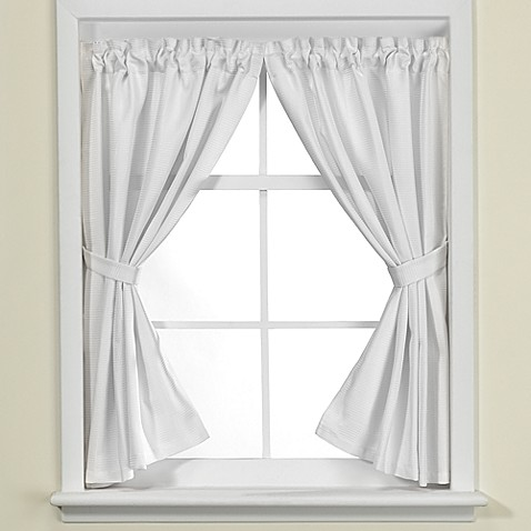 Westerly bath window curtain pair in white bed bath beyond Bathroom window curtains