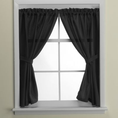 Westerly Bathroom Window Curtain Pair in Black