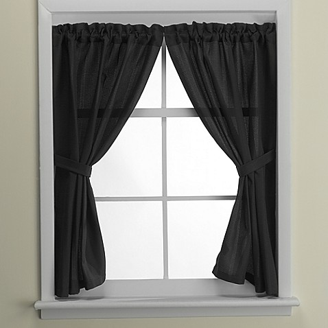 Westerly bath window curtain pair in black bed bath beyond for Bathroom window curtains