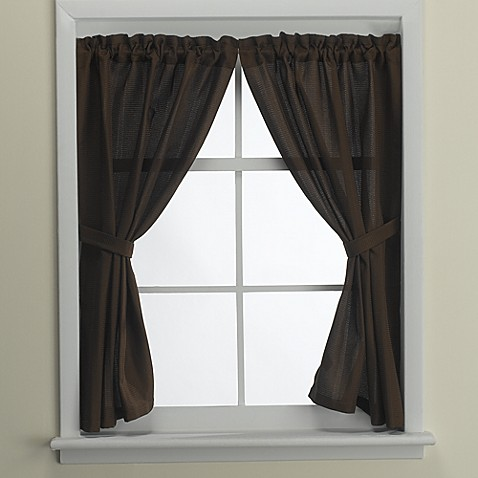 Westerly Mocha Bathroom Window Curtain Pair