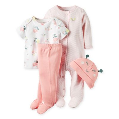 carter's® Preemie 4-Piece Babysoft Butterfly Take Me Home Set in Pink/Yellow