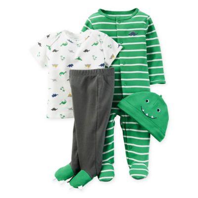carter's® Preemie 4-Piece Babysoft Dinosaur Take Me Home Set in Green/Grey