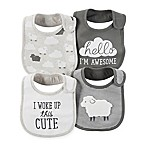 carter's® 4-Pack Lamb Teething Bibs in Grey/White