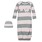Burt's Bees Baby® 2-Piece Stripe Gown and Hat Set in Heather Grey/Pink