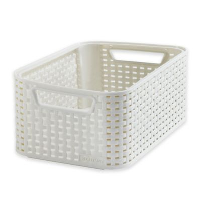 Curver Rattan-Look Small Storage Basket in Beige