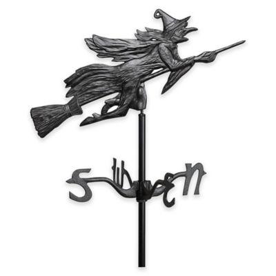 Flying Witch Garden Weathervane in Black
