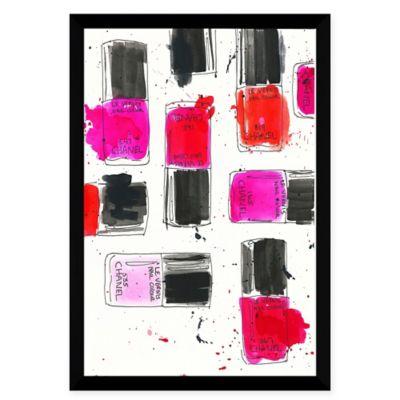BY Jodi Chanel Nail Polish Pink Aluminum Framed Wall Art