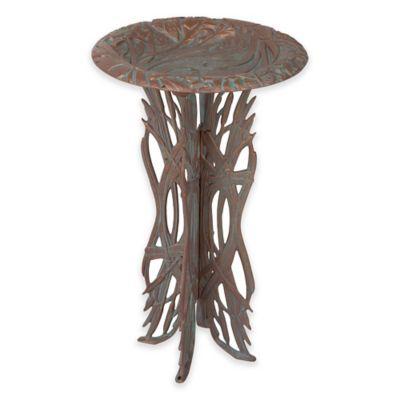 Dragonfly Pedestal Birdbath in Copper Verdi