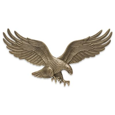 Whitehall Products Eagle 29-Inch Patriotic Wall Plaque in Antique Brass