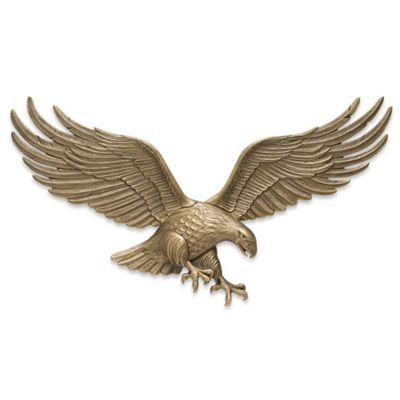 Whitehall Products Eagle 36-Inch Patriotic Wall Plaque in Antique Brass