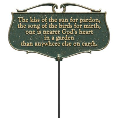 "Whitehall Products ""The Kiss Of The Sun"" Outdoor Garden Poem Sign in Green/Gold"