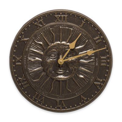Whitehall Products Sun Face Indoor/Outdoor Clock in French Bronze