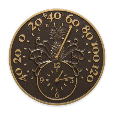 Whitehall Products Pineapple Thermometer Clock in French Bronze