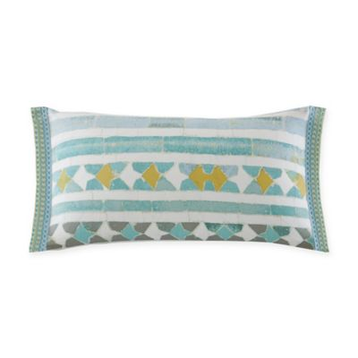 Buy Echo Design Lagos Geometric Oblong Throw Pillow in Aqua/White from Bed Bath & Beyond