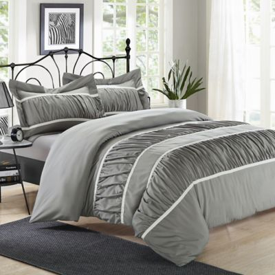 Chic Home Besily 3-Piece Queen Duvet Cover Set in Silver