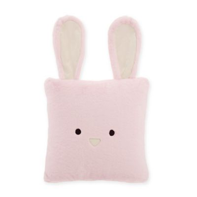 Décor Innovation Faux Fur Rabbit Square Throw Pillow in Pink