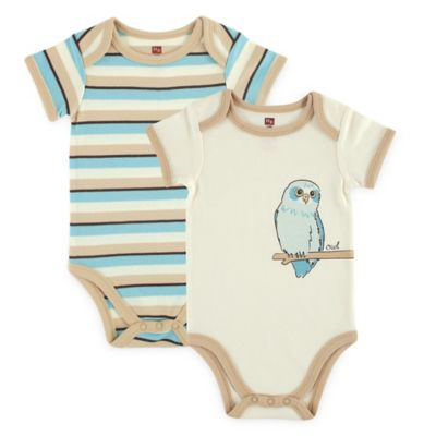 """BabyVision® Touched by Nature Size 6-9M 2-Pack """"Owl"""" Organic Cotton Bodysuits in Beige"""