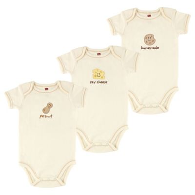 """BabyVision® Touched by Nature Size 0-3M 3-Pack """"Peanut"""" Organic Cotton Bodysuits"""