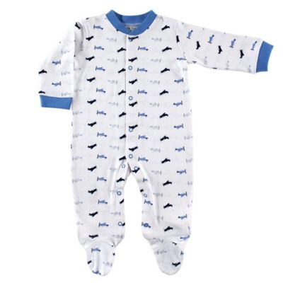 BabyVision® Luvable Friends® Size 6-9M Airplane Snap-Front Footie in Blue/White