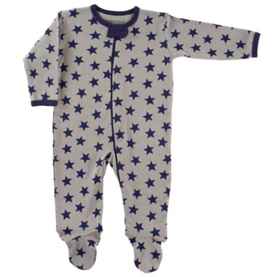 BabyVision® Luvable Friends® Size 6-9M Star Zip-Front Footie in Grey/Navy