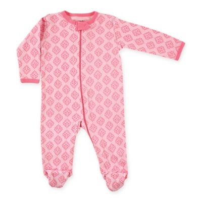 BabyVision® Luvable Friends® Size 6-9M Damask Zip-Front Footie in Pink