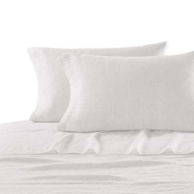 Kassatex Lino Queen Flat Sheet in White