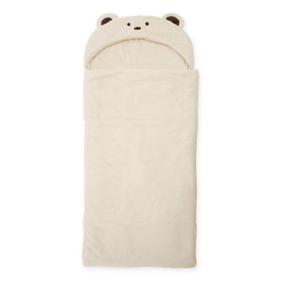 Décor Innovation Youth Faux Fur Bear Hood Sleeping Bag in Chocolate