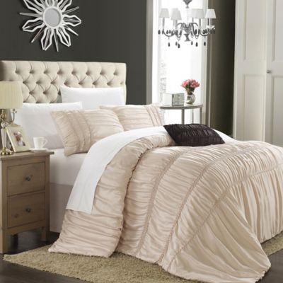Chic Home Roning 4-Piece Queen Duvet Cover Set in Taupe