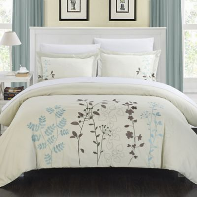 Chic Home Kathy 3-Piece Queen Duvet Cover Set in Beige