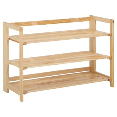 3-Tier Stackable Wooden Shoe Rack in Nautral