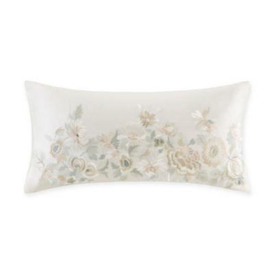 Natori® Canton Embroidered Floral Oblong Throw Pillow in Ivory