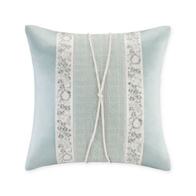 Natori® Canton Embroidered Obi Square Throw Pillow in Light Aqua