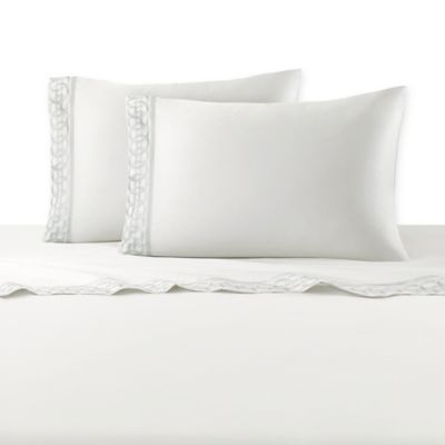 Natori® Canton Embroidered Cuff King Pillowcases in White (Set of 2)