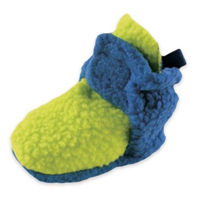 BabyVision® Luvable Friends™ Size 12-18M Scooties Fleece Booties in Lime/Blue