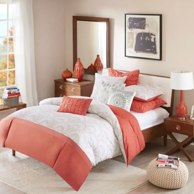 INK+IVY Muriel Full/Queen Duvet Cover Set in Coral