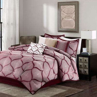 Madison Park Amara 7-Piece California King Comforter Set in Red