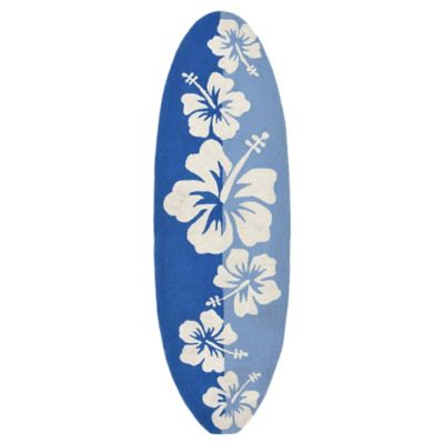 Trans-Ocean Front Porch Floralboard 1-Foot 11-Inch x 6-Foot Area Rug in in Blue