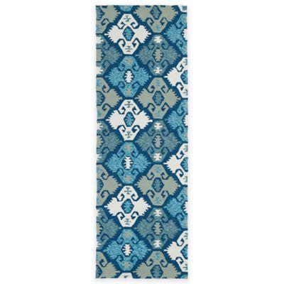 Kaleen Habitat Diamonds 2-Foot 6-Inch x 8-Foot Indoor/Outdoor Runner in Blue