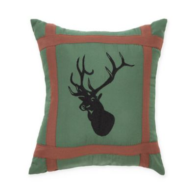 True Timber Mixed Pine Deer Square Throw Pillow in Green