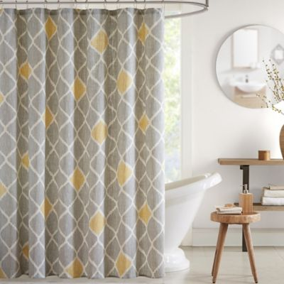 INK + IVY Nile Printed Shower Curtain in Grey/Aqua