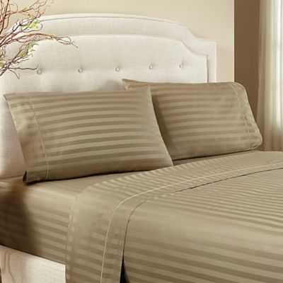 Crowning Touch by Welspun 500-Thread-Count Damask Stripe California King Sheet Set in Pebble