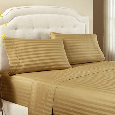 Crowning Touch by Welspun 500-Thread-Count Damask Stripe California King Sheet Set in Gold
