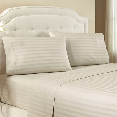 Crowning Touch by Welspun 500-Thread-Count Egyptian Cotton Damask Stripe King Sheet Set in Loden