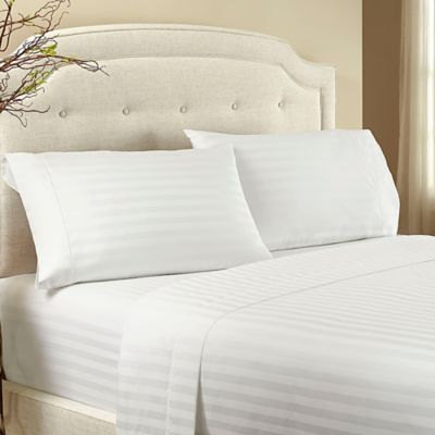 Crowning Touch by Welspun 500-Thread-Count Damask Stripe King Pillowcase in Snow White