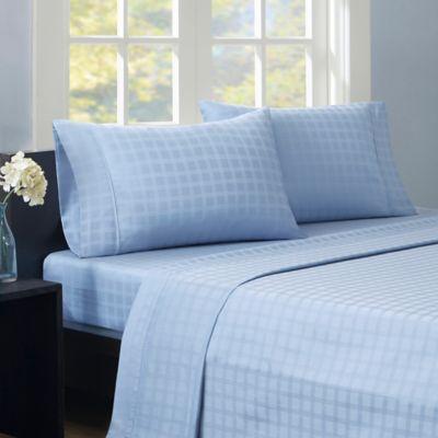 Madison Park® Dobby Windowpane 600-Thread-Count King Sheet Set in Blue