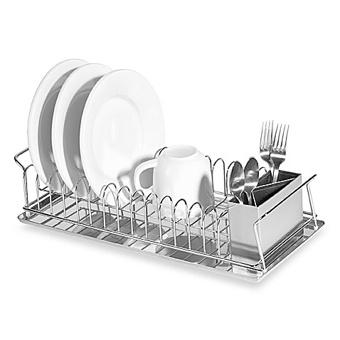Compact 3-Piece Dish Rack and Cutlery Holder - BedBathandBeyond.