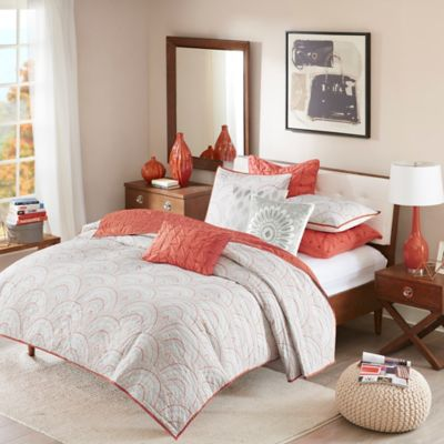 INK+IVY Muriel Full/Queen Coverlet Set in Coral