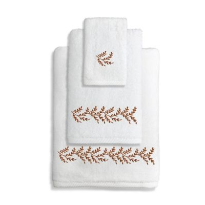 Autumn Leaves Turkish Cotton Hand Towel in White/Brown